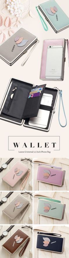 [$ 10.93]   baellerry Leaves Universal 5.5 Inch Phone Bag Wallet PU Phone Case Purse For Women