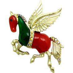 Vintage HATTIE CARNEGIE 1950s Pegasus Flying Horse Rhinestone Brooch Pin Magical!