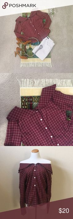 • Off-Shoulder Maroon Plaid Button Indie Blouse • This amazing top is from Shein. It is marked as a one-size garment, but I would recommend a size xs or small. Never been worn and in good condition. I am selling because I have another similar top in a blue plaid. ^___^ 💕✨ Condition is like new. Feel free to make reasonable offers! Shein Tops
