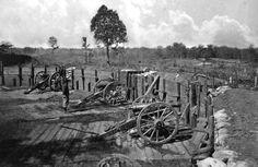 Rebel fortifications in front of Atlanta, Georgia, in 1863 or 1864. (George N.Barnard/LOC) #