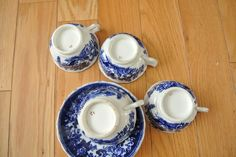 19a Four cups and saucers  for sale loyalistantiques@yahoo.com Cup And Saucer, Cups, Porcelain, China, Tableware, Mugs, Porcelain Ceramics, Dinnerware, Dishes