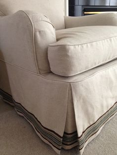 A word or two about slipcovers. Slipcovers can be an excellent solution when you want to change the look of a piece of furniture. Reupholster Furniture, My Furniture, Refurbished Furniture, Furniture Makeover, Custom Slipcovers, Slipcovers For Chairs, Drop Cloth Slipcover, Couch Cushions, Ideas