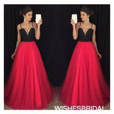 Wishesbridal Spaghetti Straps Chiffon Sweep Train Sleeveless Zipper Back A Line Red #Prom #Evening Dress Cwb0916
