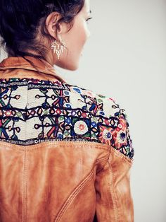 Free People Embellished Classic Biker Jacket at Free People Clothing Boutique Fall Looks, Summer Looks, Bohemian Gypsy, Bohemian Style, Hippie Accessories, She Is Clothed, Biker Style, Vintage Jacket, Fashion Details