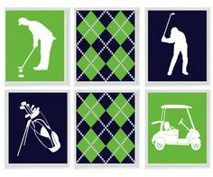 Golf Wall Art Print   Chevron Gray Navy Blue Nursery Preppy Art   Golf Club  Cart   Gift Golfer Boy Man Room Dorm Sports Home Decor   4 8x10 | Pinterest  ...