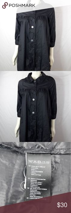 """H&M Raincoat H&M Raincoat Womens Medium Large Black Baby doll Coat  Length:32"""" Bust:20""""  Gently used with no flaws. Please see photos for exact details. Thank you for patronizing us.               (Missing Size tag) H&M Jackets & Coats Utility Jackets"""