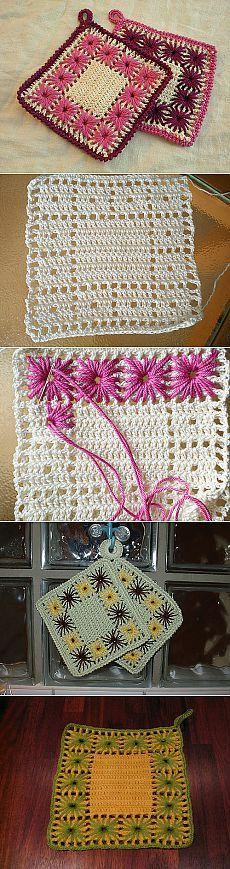 Вязание крючком+вышивка.