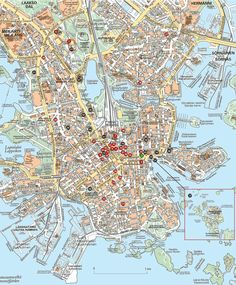 The map of Helsinki.