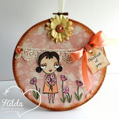 Hilda Designs: Tutorial #29 en LAC: Decora un Bastidor, Whimsical and sweet girl digi  de Vera Lane Studio