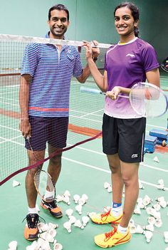 PV Sindhu - India's female Silver Medalist in Badminton (Rio with coach/the one who created the famed Badminton Academy in India - Pullela Gopichand Badminton Match, Badminton League, Badminton Court, Chen Long, P V Sindhu, England Championship, Fourth World, Olympic Medals, Sports Personality