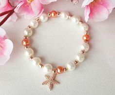 Flower girl bracelet starfish bracelet pearl bracelet