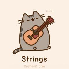 Pusheen got skills! Kawaii cute and more. Kawaii 365, Chat Kawaii, Kawaii Cute, Kawaii Drawings, Cute Drawings, Happy Birthday Guitar, Birthday Gifs, Pusheen Stormy, Pusheen Love