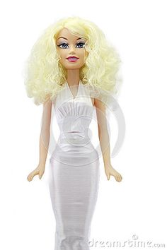 Blonde Bridal doll-matrimony doll in white on white background