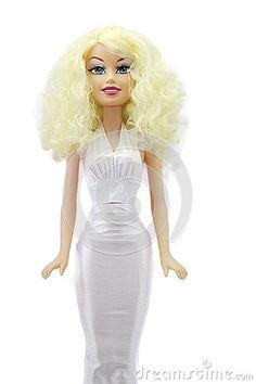 Blonde Bridal doll-matrimony doll in white on white background