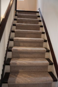 """""""Smarten-Up! clean up that old staircase. fresh paint and fresh runner. done and sold! Staging, Fresh, Paint, Top, House, Home Decor, Spinning Top, Homemade Home Decor, Picture Walls"""