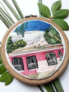Tulum Casita. 3 Embroidery Hoop Art. Hand by HOOPLASTITCH on Etsy