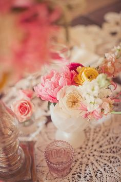 add blue mason jars and grey and here are my wedding colors. Blush, yellow, white, cream and grey.