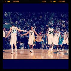 I know this is old, but this is probably one of my most favorite pictures of the Jazz. TEAM, ya know?