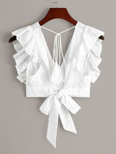 Shop Eyelet Embroidery Ruffle Cuff Tie Back Blouse at ROMWE, discover more fashion styles online. Blouse Back Neck Designs, Sari Blouse Designs, Fancy Blouse Designs, Blouse Patterns, Blouse Styles, Blouse Designs Catalogue, Stylish Blouse Design, Crop Top Outfits, Blouses For Women