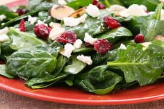 Kalyn's Kitchen®: Thanksgiving Spinach Salad with Dried Cranberries, Almonds, and Goat Cheese