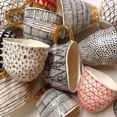 "102 Likes, 12 Comments - The Ceramics Studio (@ceramicsstudiow) on Instagram: ""Suzanne Sullivan's super gorgeous pinched teacups #ceramics #pottery #porcelain #lustre #gold…"""