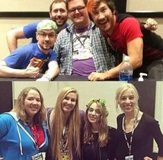 Mark, Jack, Bob and Wade and their girlfriends at PAX West 2016 ❤<<well fiancé now in Wade's case
