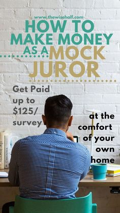 Be an online mock juror and make money from home. Best side hustles for students and moms. Start working from home and earn extra cash. No degree needed. Ways To Earn Money, Earn Money From Home, How To Get Money, Make Money Online, Money Tips, Quick Money, Peter Walsh, Legit Work From Home, Work From Home Jobs