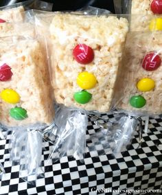 Stop light. Rice Krispy treat cake pop treat. Making them with sixlets so they're allergy friendly.