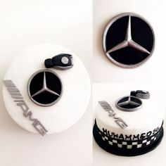 Fondant decoration - New Ideas Birthday Cakes For Men, Car Cakes For Men, Birthday Cake For Husband, Cakes For Boys, Cake Birthday, Mercedes Auto, Mercedes Stern, Mercedes Torte, Bmw Cake