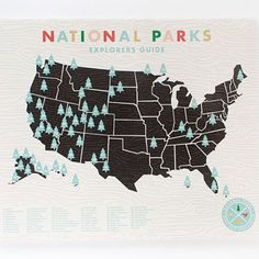 National Parks map print with tree stickers to mark off each park visited. Put in a child's room, classroom, camper, National Park Service 100 year anniversary Travel Theme Nursery, Nursery Themes, Themed Nursery, Nursery Ideas, Room Ideas, Oh The Places You'll Go, Places To Travel, Travel Destinations, National Parks Map