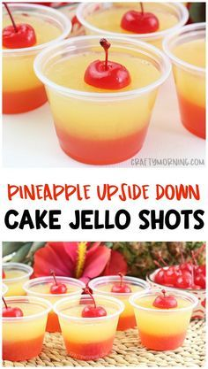Healthy Meals For Kids Pineapple upside down cake jello shots- summer jello shot recipe, tropical flavors, fun cherry jello shots! Alcoholic jello shots or make non-alcoholic for the kids. Summer Jello Shots, Cherry Jello Shots, Jello Pudding Shots, Jello Shot Cake, Bachelorette Jello Shots, Fun Summer Drinks Alcohol, July 4th Jello Shots, Summer Alcoholic Punch, Desserts