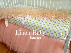 Pink and Gold Tulle Crib Bedding. Peach/Pink Tulle Baby Bedding.Blush Pink Skirt, Pink and Gold Rail Guard.