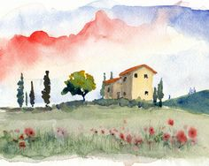 watercolor landscape Tuscan Spring II 8x10 by bleuherron on Etsy, $23.00