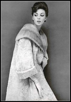 Wilhelmina in beige broadtail coat with mink shawl collar by Jessel, photo by Guy Arsac, 1960 | by skorver1