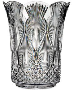 "House of Waterford Crystal Peacock 12"" Vase"