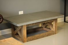 Concrete and Reclaimed Wood  Coffee Table 100  by DendroCo on Etsy, $975.00