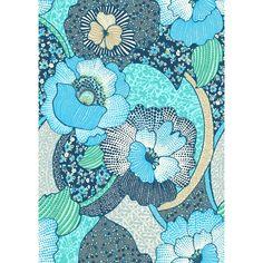 Tissu sergé coton fleurs bleues