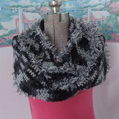 Crochet Infinity Scarf Extra Long Black Gray by WildHeartYarnings