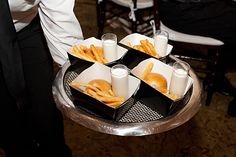 sliders, fries and a milkshake for a late night snack at the reception. cute!