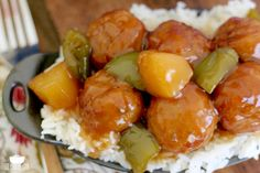 Crock Pot Sweet Sour Meatballs is the most unbelievably yummy recipe! Serve them as an appetizer or over rice to make it a full meal!