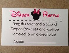 20 Diaper Raffle Tickets - Minnie Mouse Baby Shower