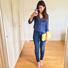 Blue with pop of yellow Hot Outfits, Simple Outfits, Spring Outfits, Casual Outfits, Party Fashion, Fashion 2017, Cute Business Casual, Mimi Ikonn, Weekend Wear