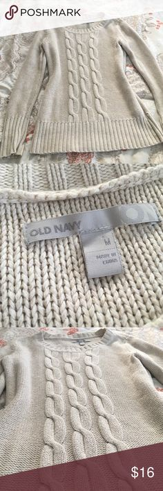 Old Navy Crew Neck Sweater Cream colored Old Navy Crew neck, ribbed sweater. So cute, and warm. Worn, with a small hole on the lower left side, as seen in last picture, but good condition other than that! 💕 Old Navy Sweaters Crew & Scoop Necks