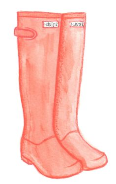 Hunter Boots:  Watercolor Illustration by Caroline Mobley