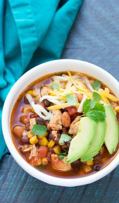 Dump and go (no chopping) easy slow cooker chicken taco soup recipe. Mexican Food Recipes, New Recipes, Real Food Recipes, Cooking Recipes, Healthy Recipes, Favorite Recipes, Skinny Recipes, Slow Cooking, Diets