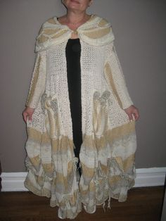 Lagenlook long summer jacket in  cream and by KnittingbyScarlatto, $250.00