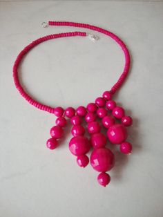 Hot Pink Bib Necklace Handmade with Vintage by CoastalCreationz, $8.00