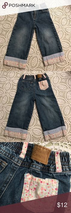 """Girl's✨Patchwork Jeans Cute cuffed jeans, size 24 months. 11"""" inseam. The Children's Place Bottoms Jeans"""