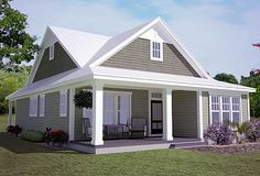 Plan 15043NC: Southern Cottage for a Narrow Lot 1697 sq feet with optional 318 bonus