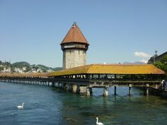 The Chapel Bridge and Water tower, Lake Lucerne, Switzerland.